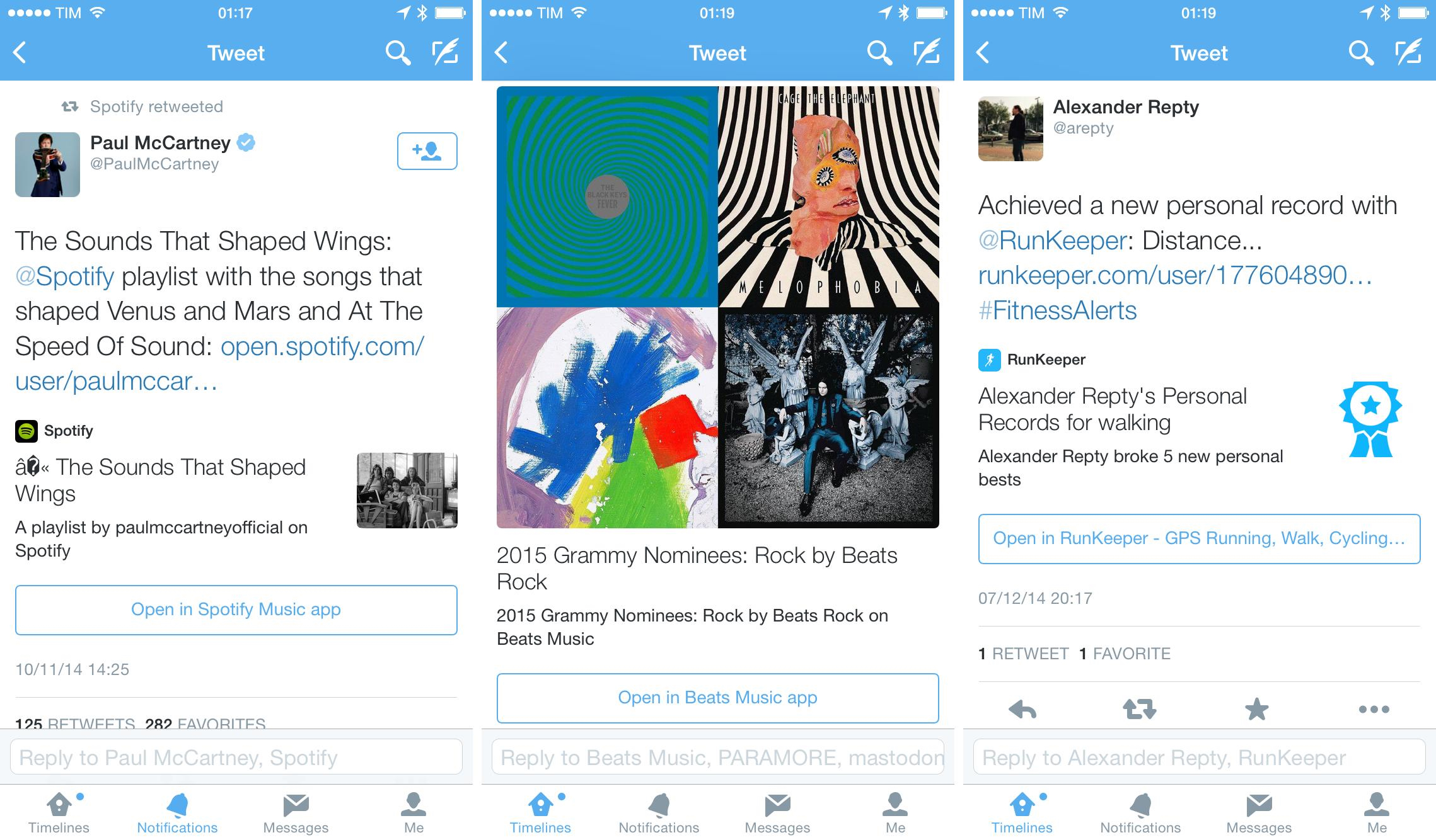 App deep-linking in Twitter. Spotify should look into their Unicode handling.